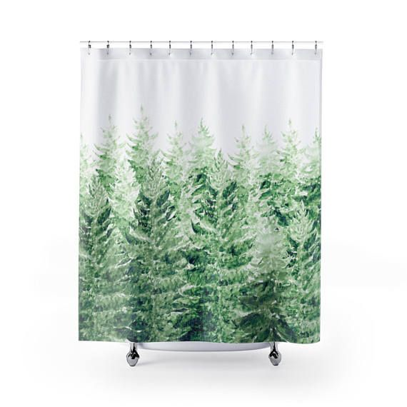 Pine Tree Shower Curtain Forest Curtain Pine Tree Curtain