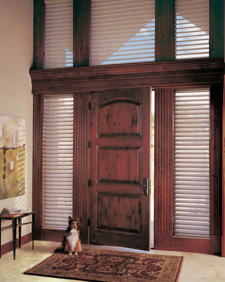 What better way to be welcomed home each and every day than by your most treasured companion. ♦ Hunter Douglas window treatments - Silhouette® window shadings  #dog   #entry