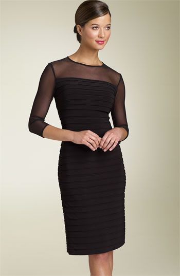 Adrianna Papell Illusion Yoke Pleated Dress available at #Nordstrom