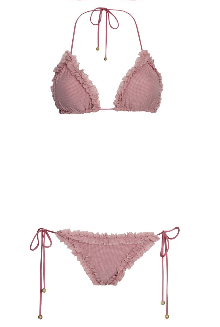 Triangle bikini with a frill border, HANNE BLOCH signature golden beads, as well as dip-dye tassels. Removable padding.Also available in oliveand black.  FAB