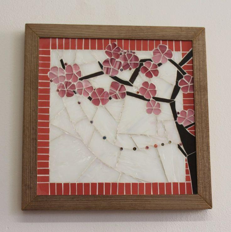 Cerisier Japonais - Tableau en mosaïque blanc et rose