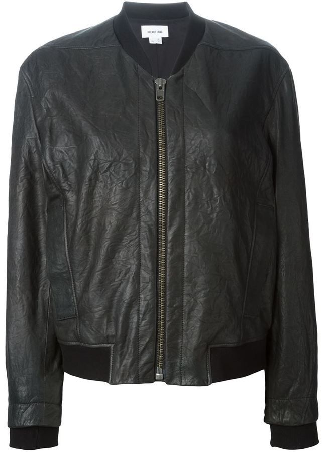 $1,125, Black Leather Bomber Jacket: Leather Bomber Jacket by Helmut Lang. Sold by farfetch.com. Click for more info: http://lookastic.com/women/shop_items/203295/redirect