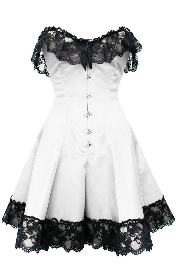 White Corset Dress with Lace | Corset dresses | Corsets