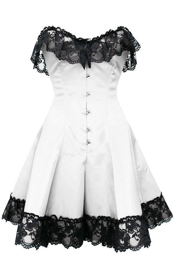 White Corset Dress with Lace | Corset dresses | Corsets