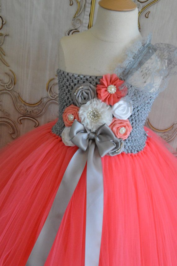NEW Coral Grey and White flower girl tutu by TutuSweetBoutiqueINC, $60.00