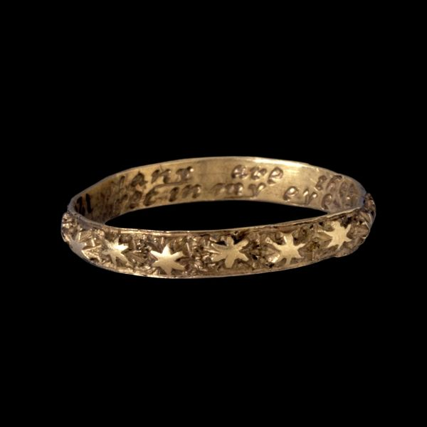 """18th century poesy ring. inscription: """"many are the stars i see but in my eye no star like thee."""""""