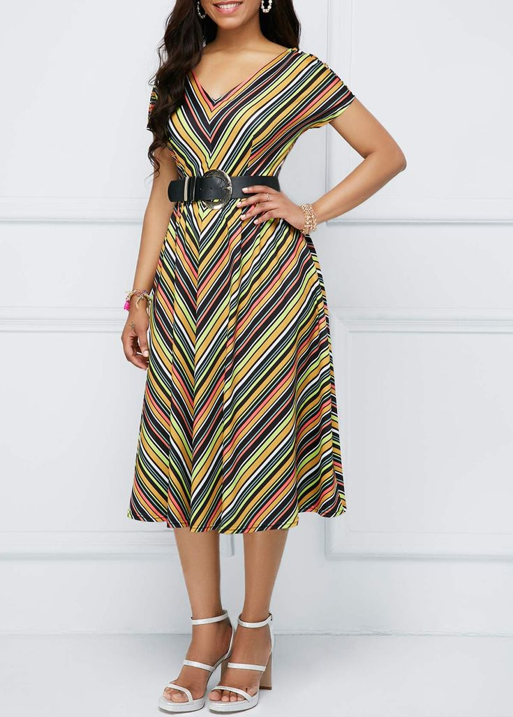 Zipper Back Stripe Print Short Sleeve Dress | Rosewe.com - USD $29.99 | Dica de moda | Pinterest