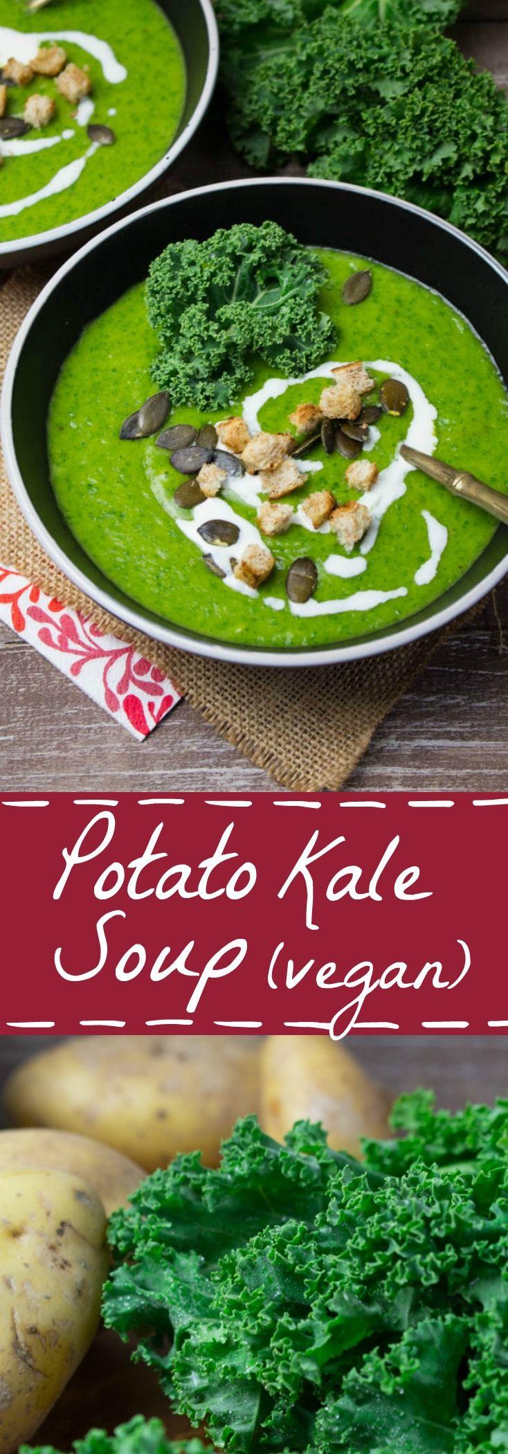 Vegan potato kale soup with celery, carrots, and leek.  MINUS the vegan margarine!