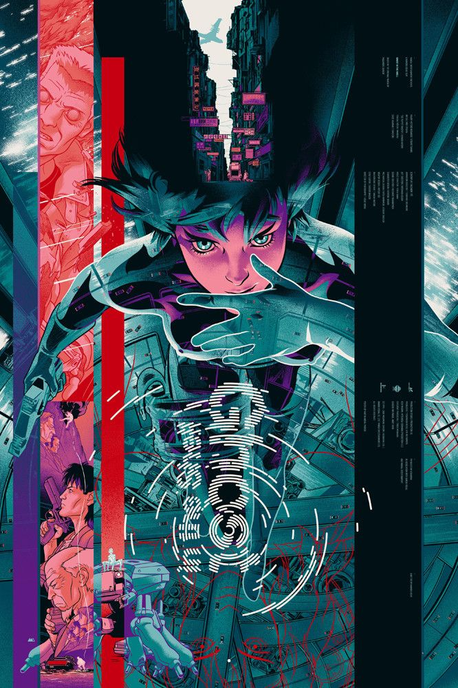 GHOST IN THE SHELL von Martin Ansin (für Mondo) - Ein fantastischer Screenprint zum Anime-Klassiker GHOST IN THE SHELL. (Mehr Infos: http://mondotees.com/collections/archive/products/ghost-in-the-shell-ansin)