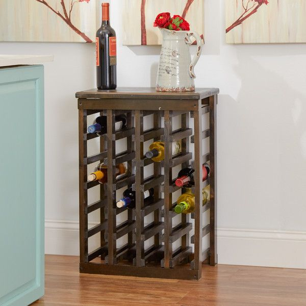 Features:  -Wood construction .  -Espresso finish.  Product Type: -Wine bottle rack.  Finish: -Espresso.  Material: -Wood.  Mount Type: -Tabletop.  Wine Bottle Capacity: -24. Dimensions:  Overall Heig