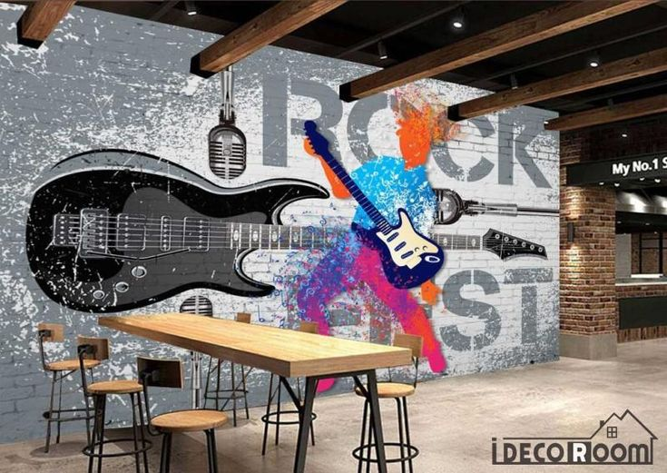 Gray Wall Graphic Design Colorful Drawing Man Playing Electric Guitar Restaurant Art Wall Murals Wallpaper Decals Prints Decor