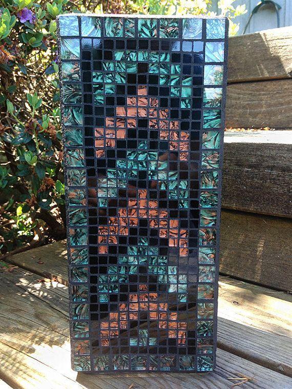 Florero mosaico  zig-zag en negro verde y cobre