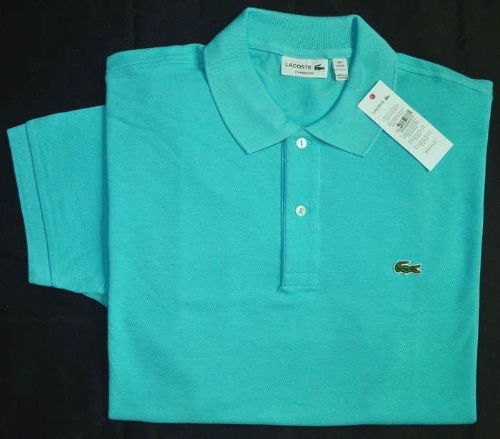 New Lacoste XXL 8 Lacoste Mens short sleeve polo shirt top aqua classic fit 2XL