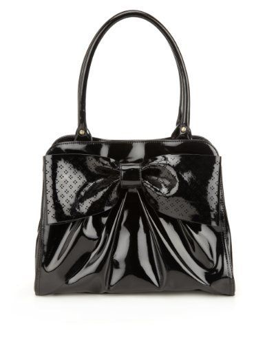 Per Una Patent Bow Cut-Out Tote Bag-Marks & Spencer