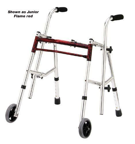 `Glider Walker Jr. Flame Red by Specialty-Walkers. $120.78. Glider Walker Jr. Flame Red. Mobility Products,Specialty Walkers. Junior frame * Flame red *  Comes with adjustable handles and legs that make this walker extremely versatile to accommodate virtually any physical requirements * Flat free tires allow for both indoor and outdoor use * Wide base provides additional stabili