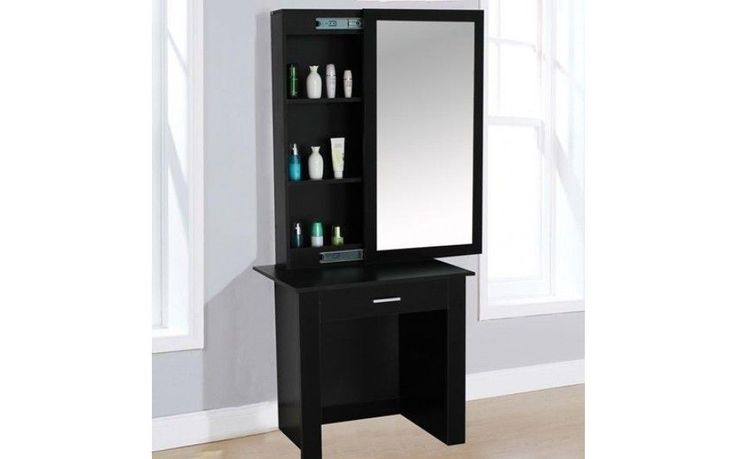 Vanity Dressing Table With Large Mirror Modern Cabinet Jewelry Drawer Furniture #VanityDressingTable