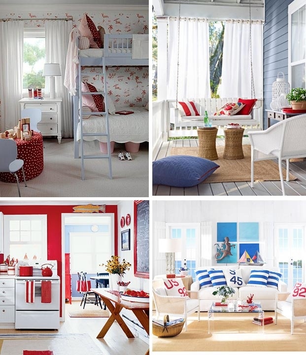 219 best images about red white and blue decorating on pinterest red white blue red and blue and gingham - Red And White Bedroom Decorating Ideas