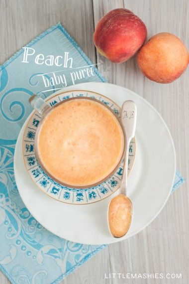 Baby food recipe Peach Puree from Little Mashies reusable food pouches. For free recipe ebook go to Little Mashies website or Amazon