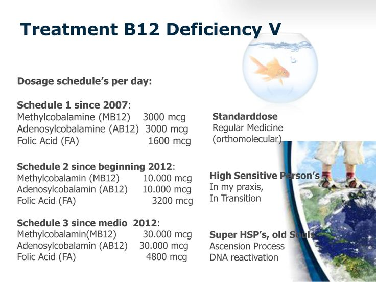 Treatment B12 Deficiency: 3 dosage schedules. 1. Standard Dosage (orthomolecular) 2. Higher Dose for High Sensitive Person's(HSP). 3. Mega Dosing for Old Souls in Ascension.
