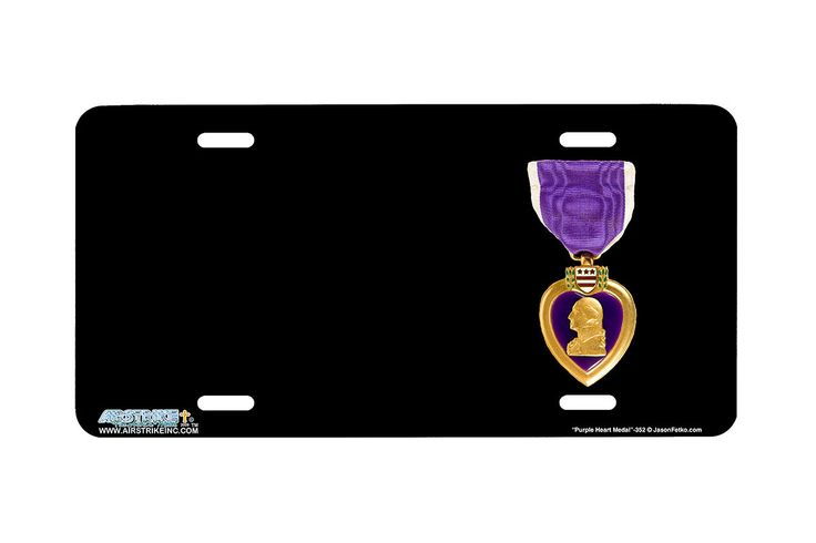 """Airstrike® 352-""""Purple Heart Medal"""" Purple Heart Airbrushed License Plates"""