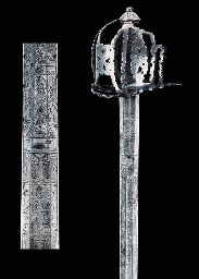 """Basket-Hilted Highland Broadsword with Jacobite Inscriptions. Forged and Engraved Iron & Steel. Circa Early-18th Century. 31"""" (78.7cm). Engraved on one side with the Figure of St. Andrew and Inscribed """"Prosperity to Schotland and No Union"""", and on the other side, a Crown & Sceptre on a Cushion with a Laurelled Portrait of King James above and Inscribed """"God Save King James the 8"""". Provenance: John Campbell, 1st Earl of Breadalbane, Perthshire - The Battle of Sheriffmuir, 1715."""