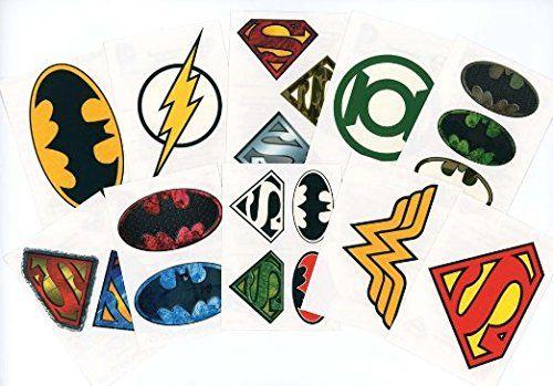 DC Comics Logo Temporary Tattoos (Set of 10 Sheets)(Includes Superman Wonder Woman, Batman, Green Lantern, and The Flash) //Price: $5.77 & FREE Shipping //     #hashtag2
