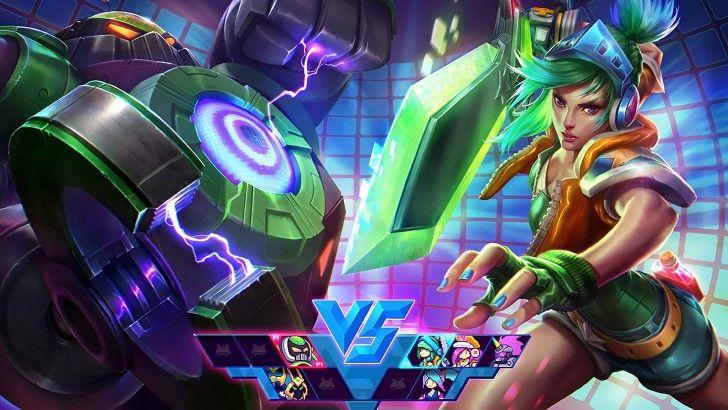 Arcade Riven vs Blitzcrank Splash Art Wallpaper