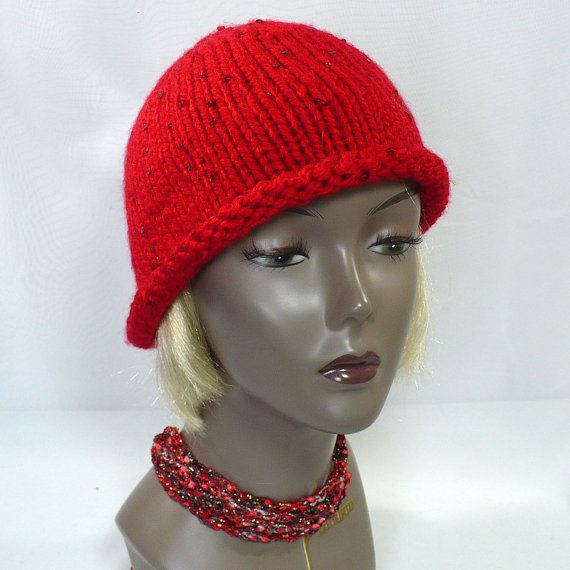Red Sequined Cloche: #TwentiesStyle Hat by MarieAntoinknit for #9ElizabethStreet