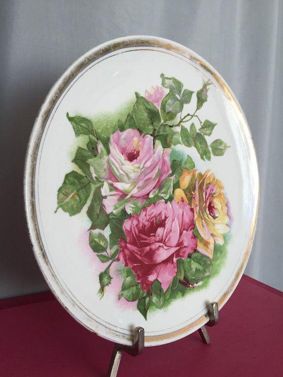 Piatto floreale Cina Rose rosso verde giallo rosa bianco bordo oro bordo Fiori Vintage che serve la cena piatti Shabby Chic sostituzione Mix