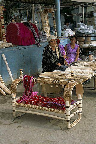 Wooden baby cots for sale, Nukur market, Uzbekistan, Central Asia, Asia