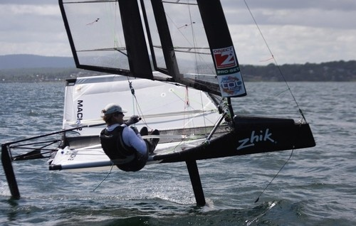Charlie McKee in action with the Moth solid wing - Zhik Moth Worlds 2011- Lake Macquarie Australia Sail-World.com /AUS ©