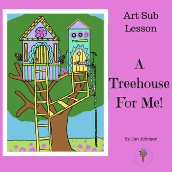This is a fun art lesson for elementary kids. Students will invent a tree house they would like to have.