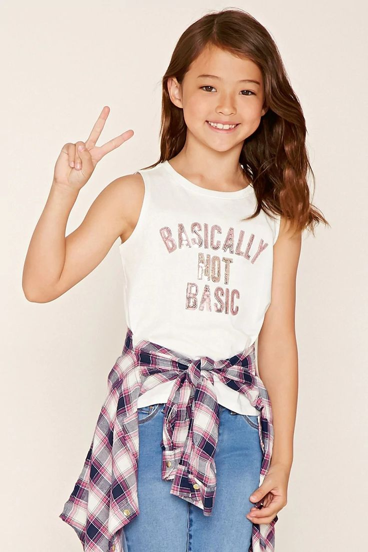 """Forever 21 Girls - A knit top featuring a metallic """"Basically Not Basic"""" graphic,sleeveless cut, and a round neckline."""