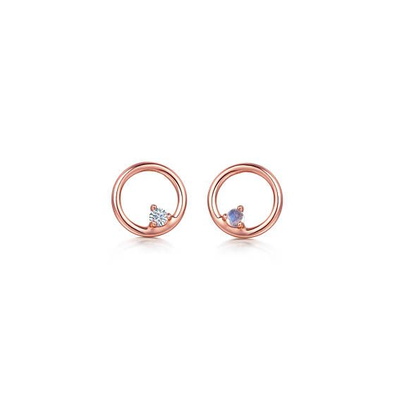CORAL studs | White Sapphire | Gold earrings | Moonstone Studs | Tiny Earrings | Rose Gold | Eternity Circle Earrings