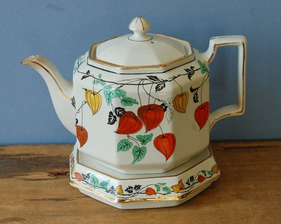 Burslem Johnson octagonal teapot and stand with by nancyplage, £25.00