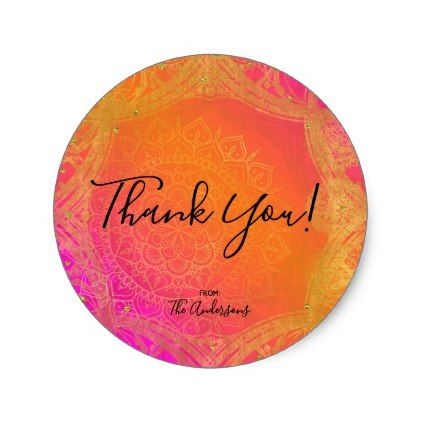 Fuchsia Pink Orange & Gold Indian Mandala Party Classic Round Sticker - bridal gifts bride wedding marriage