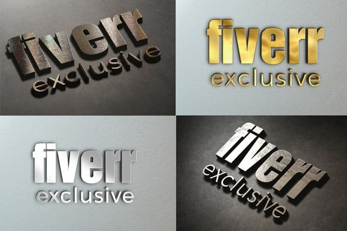 create 3D logo mockup in 4 different style