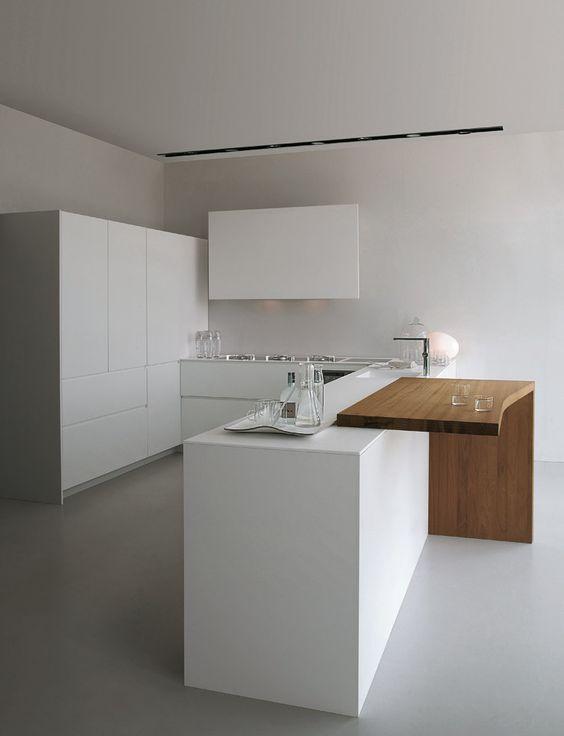 cocina minimalista muebles lacados en blanco sin tiradores, isla con