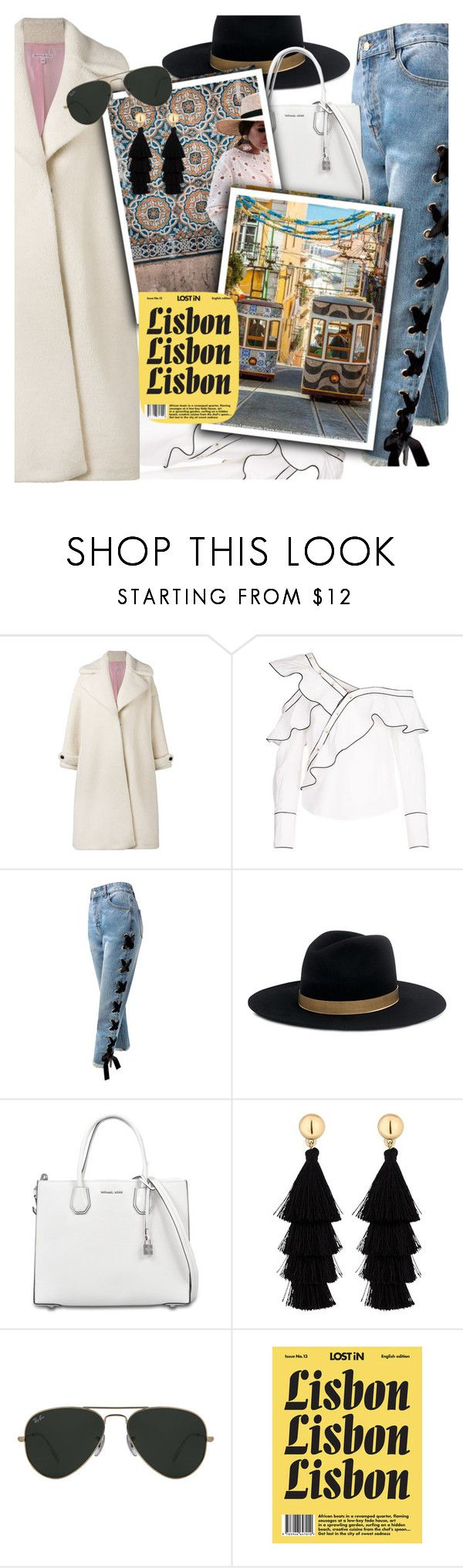 """travel to Lisbon"" by katymill ❤ liked on Polyvore featuring Olympia Le-Tan, self-portrait, Sans Souci, Janessa Leone, MICHAEL Michael Kors, Red Herring, Ray-Ban, travel, trend and lisbon"