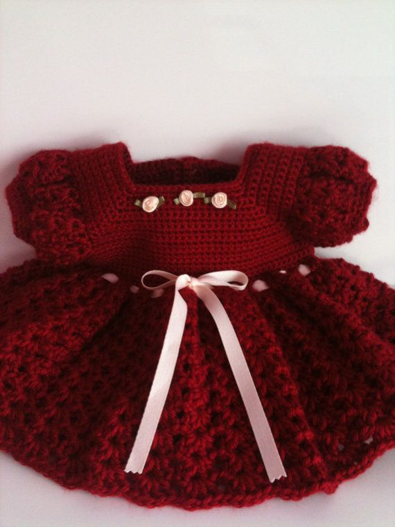 Crochet Baby Dress, Infant Red Dress