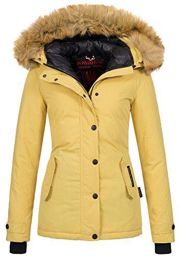 #Navahoo warme Damen Winter Jacke Winterjacke Parka Mantel Kunstfell B392 (XS, Gelb), 04059072097865