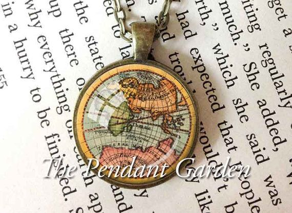 101 best jewelry images on pinterest anniversary favors vintage map pendant old world map necklace by thependantgarden gumiabroncs Gallery