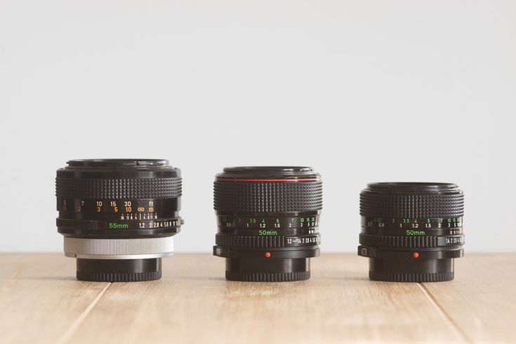 From left to right: Canon FD 55mm f/1.2 S.S.C. Aspherical, Canon nFD 50 f/1.2L and Canon nFD 50 f/1.4