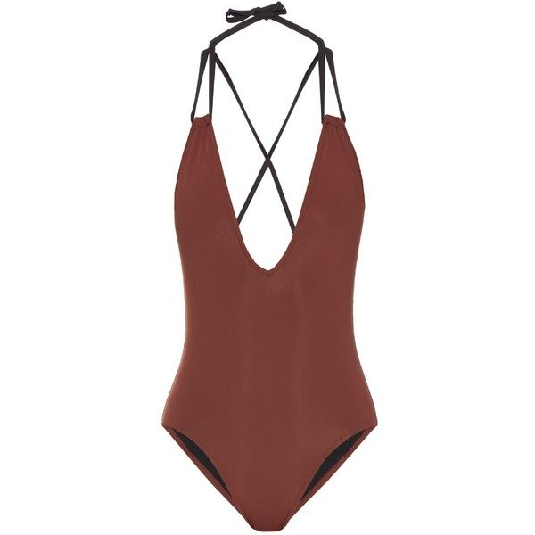 Solid & Striped The Alexandra V-neck swimsuit (£145) ❤ liked on Polyvore featuring swimwear, one-piece swimsuits, swim, brown multi, v neck swimsuit, striped swimsuit, brown bathing suit, bathing suit swimwear and swim wear