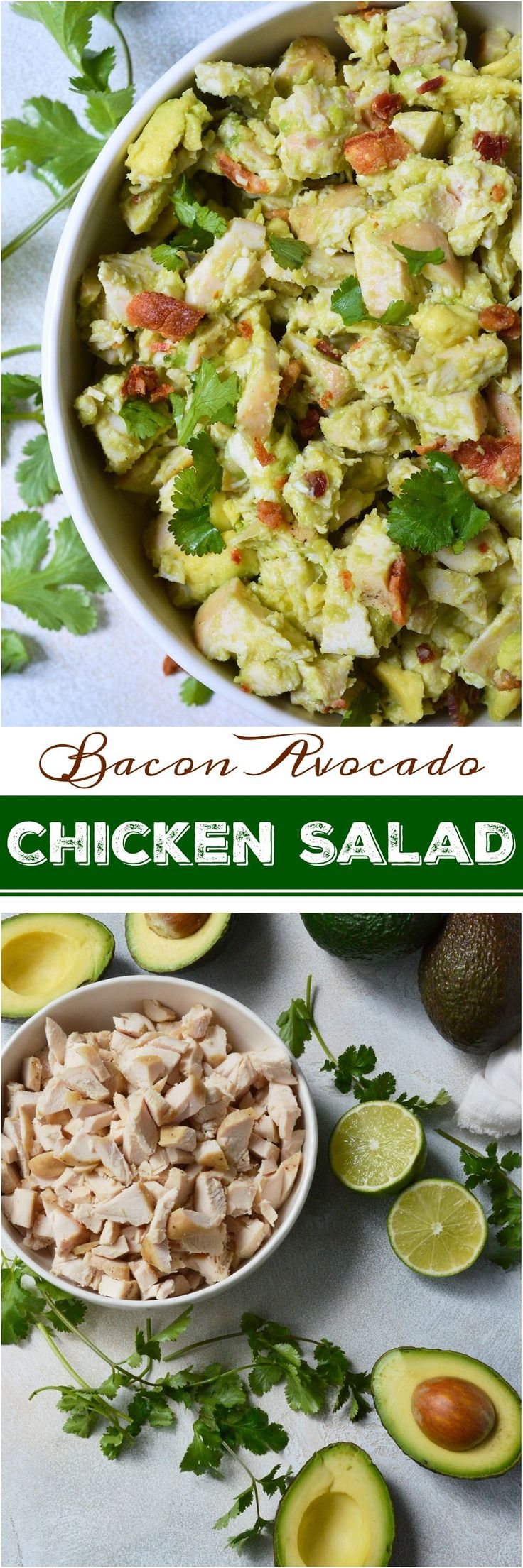 Wanting to eat healthy and nutritious without giving up your favorite foods? This Bacon Avocado Chicken Salad Recipe is full of flavor, healthy fats, no-mayo and is Whole30 friendly. #ad