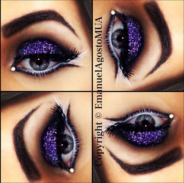 I love this look from @Sephora's #TheBeautyBoard http://gallery.sephora.com/photo/glitter-purple-smokey-eye-defined-brows-10696