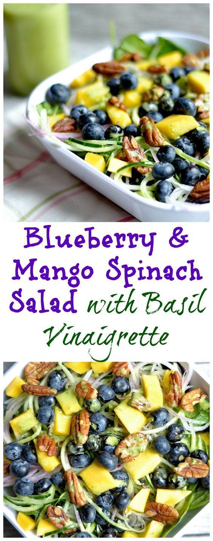 Blueberry mango spinach salad