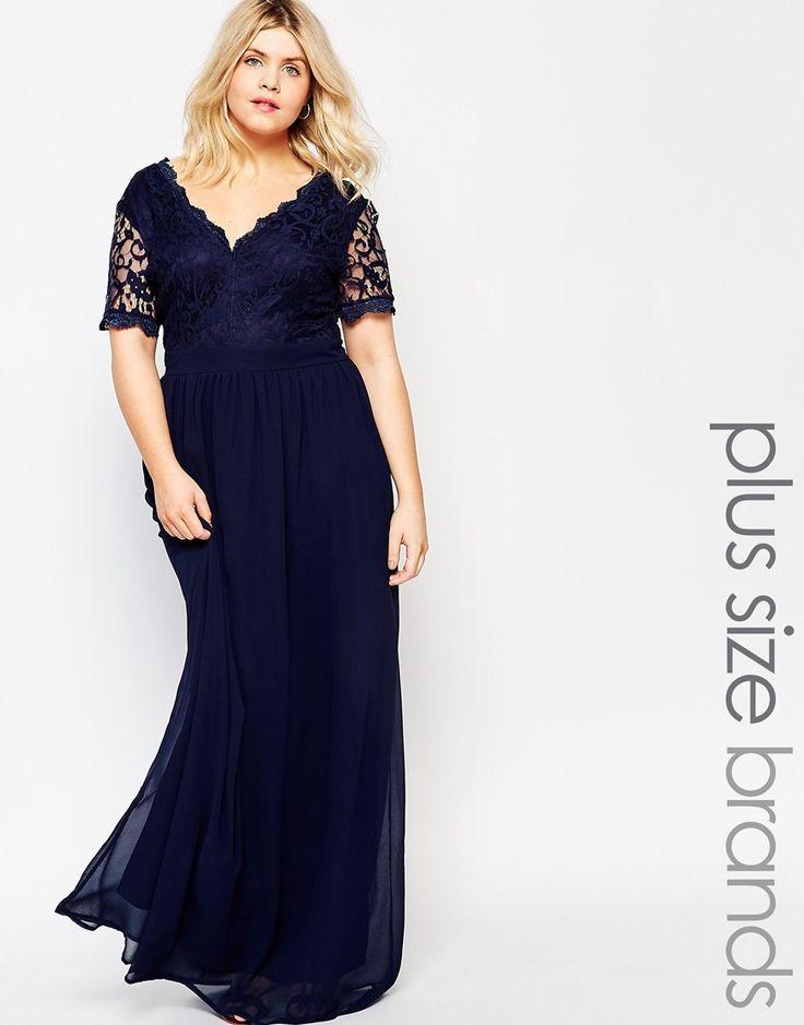 Image 1 - Club L - Maxi robe grande taille avec top en dentelle festonnée