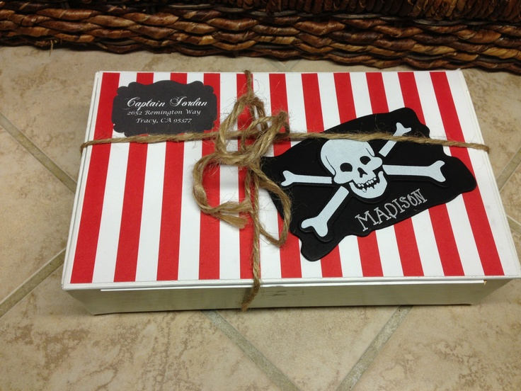 Box pirate invitations made by Lacie Stonehouse
