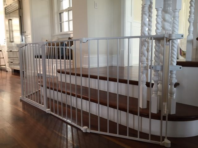 50cbf32a68f9 Large Sectional Baby Gate for Bottom of Stairs Using No Holes Custom  Banister Clamps